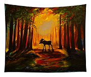 Moose Sunset Tapestry