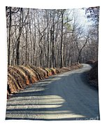 Morning Shadows On The Forest Road Tapestry