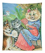 Mother Cat With Fan And Two Kittens Tapestry