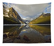 Mountains Reflected In Lake Louise Tapestry