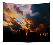 New York City Skyline At Sunset Under Clouds Tapestry
