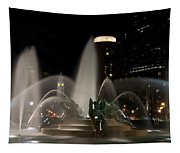 Night View Of Swann Fountain Tapestry