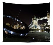 Night View Of The Thames Riverbank Tapestry