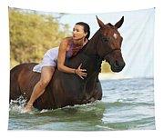 Ocean Horseback Rider Tapestry