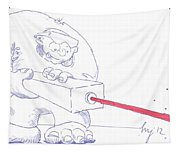 Ogre With Laser Cartoon Tapestry