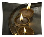 Oil Lamps Kept In A Plate As Part Of Diwali Celebrations Tapestry