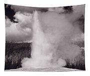 Old Faithful Yellowstone Bw Tapestry