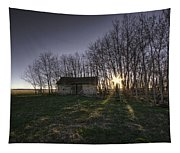 Old Prairie Homestead At Sunset Tapestry