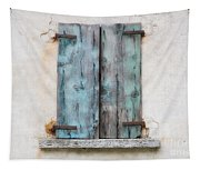 Old Window With Blue Shutte Tapestry