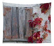 Old Window With Red Leaves Tapestry