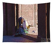Old Woman In Centro Tapestry