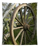 Old Wooden Cartwheel - Nostalgia Tapestry