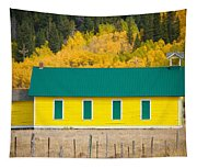 Old Yellow School House With Autumn Colors Tapestry