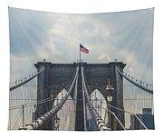 Ole Glory Over Brooklyn Bridge Tapestry