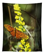 Orange Butterfly On Yellow Wildflower Tapestry