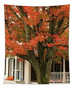 Orange Leaves And Pumpkins Tapestry