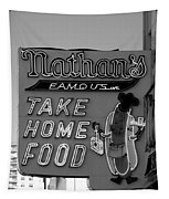 Original Nathan's In Black And White  Tapestry