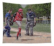 Ouch Baseball Foul Ball Digital Art Tapestry