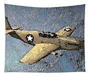 P51 Mustang In Flight Tapestry
