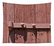 Painted Red Iron Hinge On A Red Barn Door Tapestry