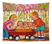Paintings For Children - Boy - Girl - Red Wagon And Puppies Tapestry