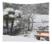 Palm Tree And A Bench With Snow Tapestry
