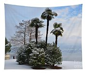Palm Trees With Snow Tapestry