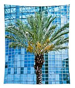 Palme Tree And Blue Building Tapestry
