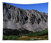 Panoramic Of Hikers On Kersarge Lake Tapestry