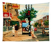 Park Avenue And Bernard Montreal City Scene Tapestry