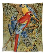 Parrots: Macaws, 19th Cent Tapestry