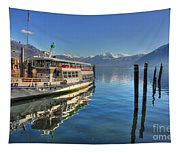 Passenger Ship Reflected On The Water Tapestry