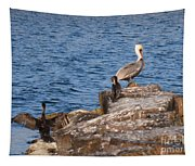 Pelican And Cormorants Tapestry
