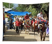 People On Horseback And On Foot Making The Climb To The Vaishno Devi Shrine In India Tapestry