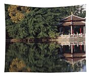 People Resting Under Pagoda On Hoan Tapestry