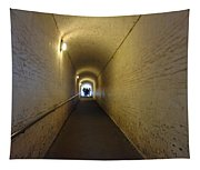 People Starting To Walk Down A Tunnel In Dover Castle Tapestry
