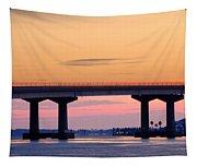 Perdido Bridge Sunrise Closeup Tapestry