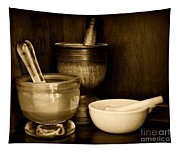 Pharmacy - Mortars And Pestles - Black And White Tapestry
