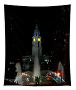 Philadelphia City Hall And Swann Fountain At Night Tapestry
