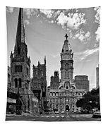 Philadelphia City Hall Bw Tapestry