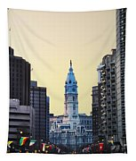 Philadelphia Cityhall At Dawn Tapestry