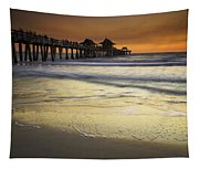 Pier At Sunset Tapestry