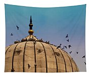 Pigeons Around Dome Of The Jama Masjid In Delhi In India Tapestry