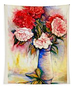 Pink And Red Peony Roses In A Tall Blue Porcelain Vase Tapestry