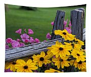Pink And Yellow Flowers Tapestry