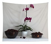 Pink Phalaenopsis Orchid And Sour Cherries Tapestry