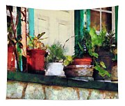 Plants On Porch Tapestry