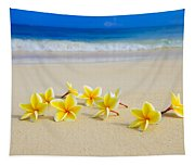 Plumerias On Beach II Tapestry