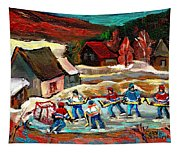 Pond Hockey 3 Tapestry