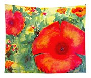 Poppies Face To The Sun Tapestry
